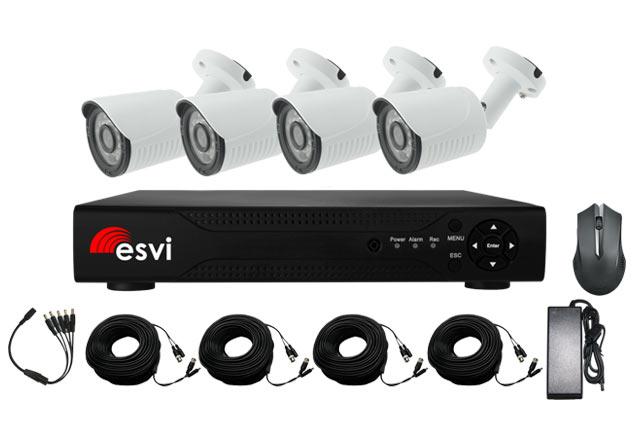 EVK-X4-BQH10B, комплект AHD видеонаблюдения на 4 уличные камеры